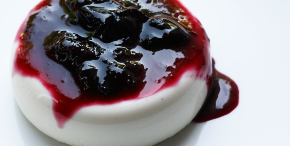 White Chocolate Vanilla Bean Panna Cotta with Homemade Cherry Preserves